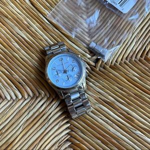 Michael Kors Silver Watch Baby Blue Face